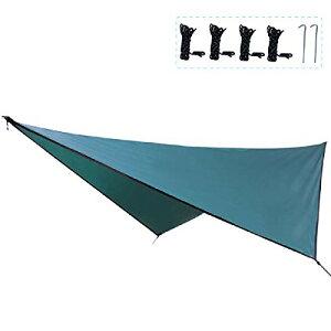 TRIWONDER タープ 天幕 シェード 防水軽量 ティピー グランドシート キャンプ テント ピクニック マット シート フライシート サンシェルター 収納袋付き (ダックグリーン+アクセサリー)
