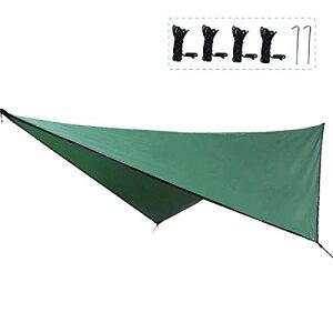TRIWONDER タープ 天幕 シェード 防水軽量 ティピー グランドシート キャンプ テント ピクニック マット シート フライシート サンシェルター 収納袋付き (グリーン+アクセサリー)