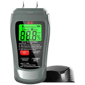 木材水分計, 木材水分測定器 操作簡単 携帯便利 木材 水分計、建築材壁 段ボールMT18;水分計 薪 英語マニュアル (灰色)