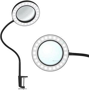 拡大鏡 ルーペ ledライト付き USBライト 3色モード クリップライト LEDルーペデスクライト 10W卓上ライト 5倍の倍率拡大鏡 10段階調輝度 無段階調光 360度回転 折りたたみ式 角度調整可能 省エネ