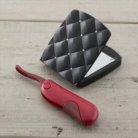 送料無料 貝印 ホットアイラッシュカーラー 赤 KQ0340 乾電池 コンパクト 持ち運び まつげ まつ毛 ホットビューラー コンパクトミラー ブランド かわいい 折りたたみ 5倍拡大鏡 手鏡 ギフト プレゼント