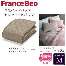 フランスベッド 羊毛メッシュパッド3点セット Mエッフェスタンダード マットレスカバー2枚付きお得なセレクト3点パック セミダブル