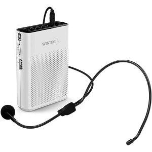 ポータブルハンズフリー拡声器 拡声器 マイクロSD/USB 再生対応 AUXIN端子 ホワイト WINTECH KMA-200