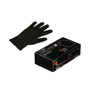 ニトリルゴム手袋 100枚 使い捨て N460 ニトリル手袋 粉無 BLACK (S) サイズ : S 入数 : 100