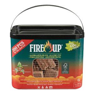 Fire up(ファイヤーアップ) 100キューブバケット 541142A [原産国:オランダ] 【FIRE-UP ファイヤーアップ ファイヤー 着火剤 着火 薪 炭 木炭 ストーブ 暖炉 火力 火 アウトドア おが粉 キューブタブ