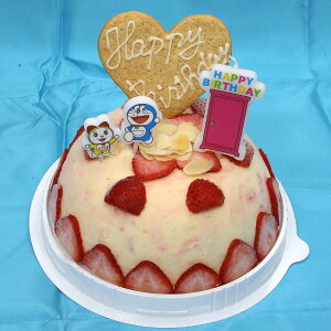送料無料 ドラえもんローソクつき いちごのミルフィーユアイスケーキドーム型 5号 15cm アイスクリームケーキ アイス ケーキ アイスクリーム