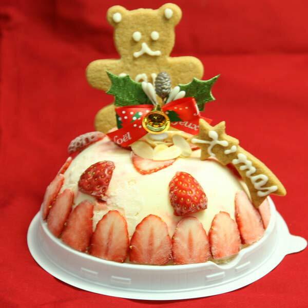 苺のミルフィーユアイスケーキ 4号サイズ(直径12cm)【2,900円/税込/送料950円】 2〜3人用でのご利用がお薦め ドーム型のアイスケーキ クリスマスアイスケーキ ギフトやプレゼントにも