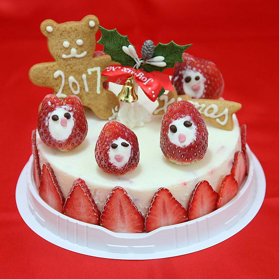 ホワイトチョコと苺のアイスクリームケーキ 5号 クリスマスケーキ2017 クリスマスケーキ クリスマスアイスケーキ チョコレートケーキ