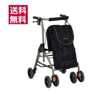 室外用歩行車 テイコブリトルボンベ WAW06 (幸和製作所) 折りたたみ可能 屋外用 ブラック 座面付き 四輪 酸素カー ボンベカー 酸素ボンベ 【送料無料】座れる 歩行補助