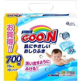 【送料無料】グーン 肌にやさしいおしりふき つめかえ用 70枚×10個×4個セット (4902011735420)