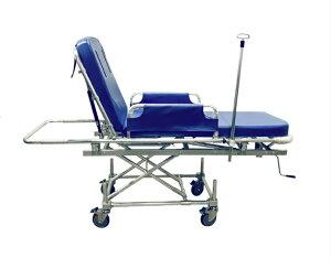 搬送用ストレッチャーC 昇降式 背上げ無段階 点滴棒 酸素ボンベ架台 小物入れ 安全ベルト2セット マットレス(厚み8cm)枕 揺れ防止 担架取り外し式