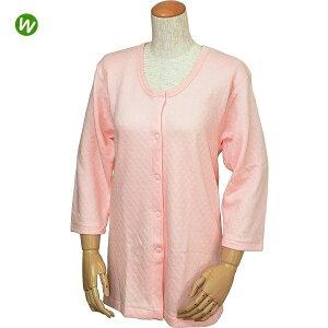 婦人用 キルト八分袖前開きシャツ(ワンタッチテープ式) / W461 ピーチ M