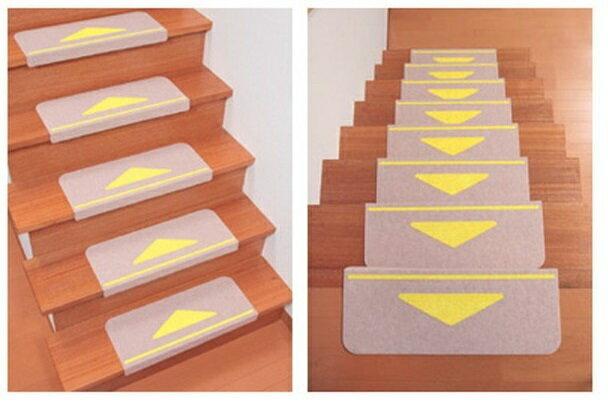 【サンコー】 折り曲げ付階段マット(15枚入り/ベージュ) KD-80 三角マーク付き 4973381163267/161-R0672