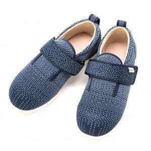 徳武産業 ダブルマジック3 ニット 7047 5E 両足 サイズ:LL 色:紺 室内履き シューズ 介護 靴