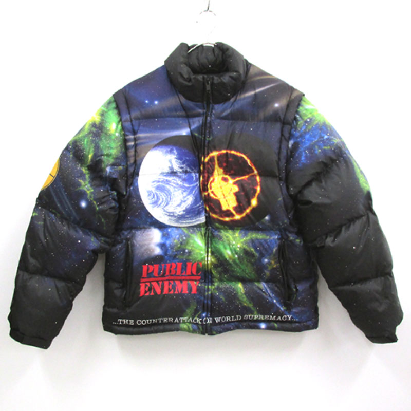 【中古】【メンズ古着】Supreme×UNDER COVER Public Enemy Puffy Jacket パフィージャケット サイズ:S/カラー:マルチカラー/18SS/ジャケット/コラボ/ストリート【山城店】