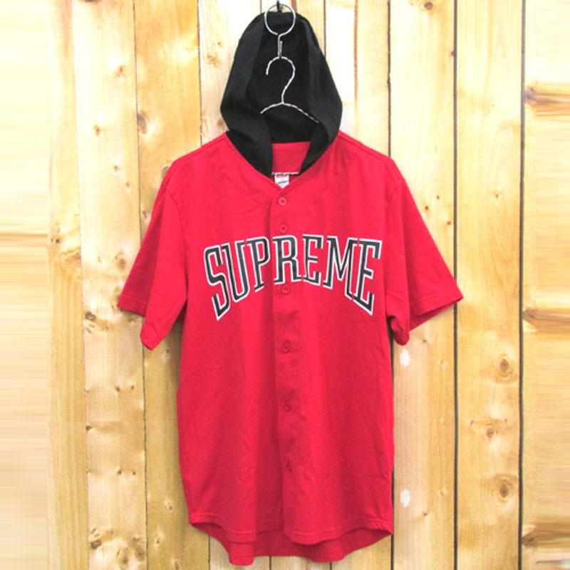 【中古】【メンズ 古着】Supreme シュプリーム Hooded Baseball Top フード付き ベースボール 半袖 シャツ サイズ:M/カラー:レッド/16SS/ストリート【山城店】