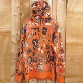 【中古】【メンズ古着】Supreme シュプリーム Thrills Hooded Sweatshirt 総柄 スウェット パーカ サイズ:L/カラー:オレンジ/17SS/転写/プリント/Weirdo Dave/パーカー/ストリート【山城店】