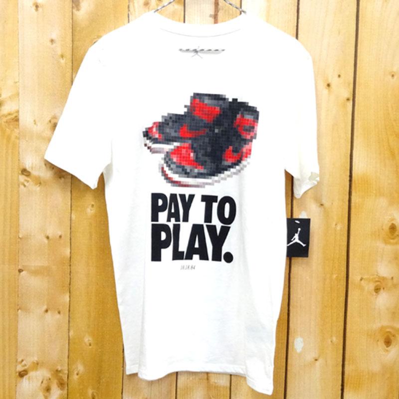 【中古】【メンズ古着】NIKE ナイキ Air Jordan Retro 1 pay to play T-shirt/サイズ:M/ホワイト・アイボリー 系/アウトドア 【山城店】