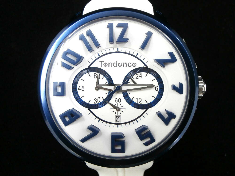 【中古】Tendence テンデンス ALUTECH GULLIVER アルテック ガリバー クロノグラフ ホワイト ブルー【TY146001】【男女兼用・腕時計】【108】