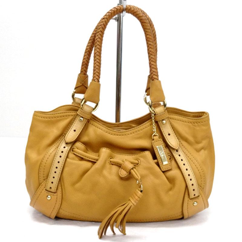 【中古】【レディース古着】Cole Haan コールハーン タッセル付き ハンドバッグ カラー:ベージュ 系/バッグ 鞄【山城店】