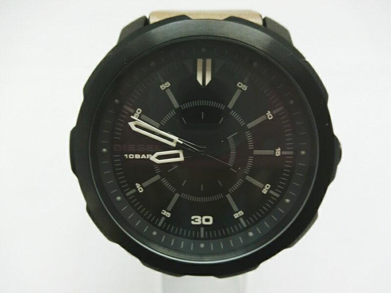 【中古】DIESEL/ディーゼル 腕時計 DZ-1788 黒文字盤 レザーバンド ブラック/ブラウン【出雲店】