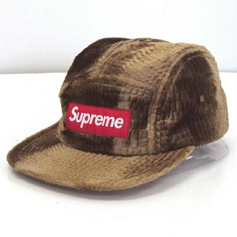 【中古】【メンズ古着】Supreme シュプリーム Croc Embossed Velvet CAP クロコビロードエンボスキャップ/FREE/茶色系/キャンプキャップ/帽子【山城店】