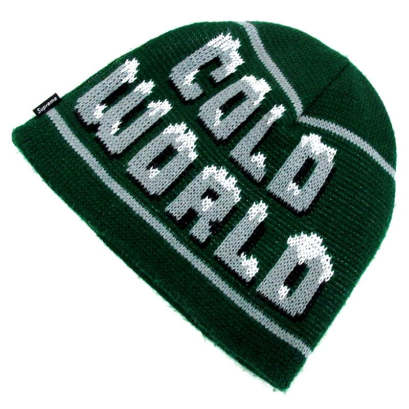 【中古】【メンズ古着】Supreme シュプリーム Cold World Beanie ニット帽 カラー:グリーン 系/ビーニー/キャップ/帽子【山城店】