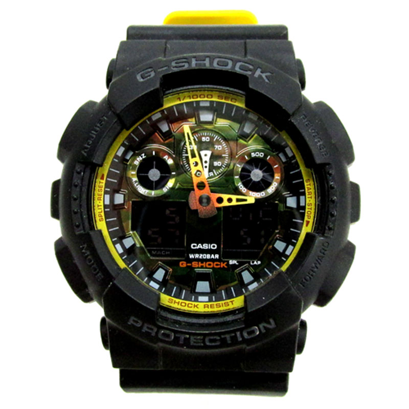 CASIO カシオ G-SHOCK(ジーショック) 品番:GA-100BY/カラー:ブラック×イエロー《腕時計/ウォッチ》【服飾小物】【中古】【山城店】