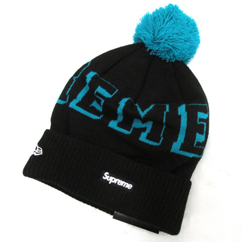 【中古】【メンズ古着】Supreme × NEW ERA シュプリーム×ニューエラ BANNER BEANIE ニット帽 サイズ:F/カラー:ブラック 系/2015AW/帽子/キャップ【山城店】