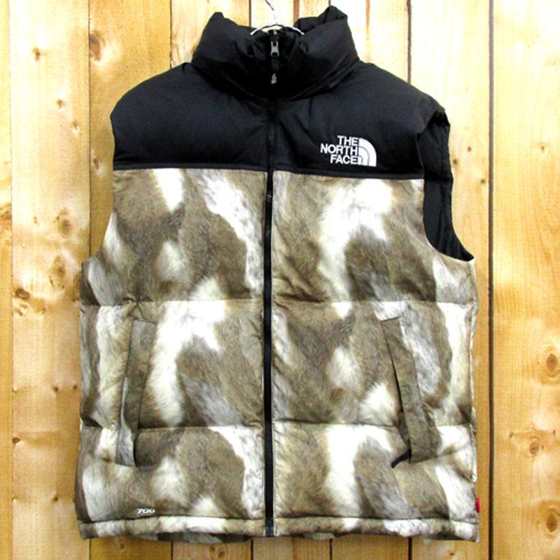 【中古】【メンズ古着】Supreme × THE NORTH FACE Fur Print Nuptse Vest ダウン ベスト/M/ブラック×ブラウン/ストリート 【山城店】