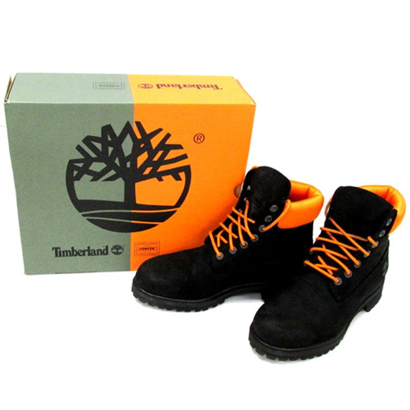 【中古】【メンズ古着】Timberland × PORTER 6inch Premium Waterproof Boots/26.5cm/ブラック×オレンジ/ブーツ/他靴 【山城店】