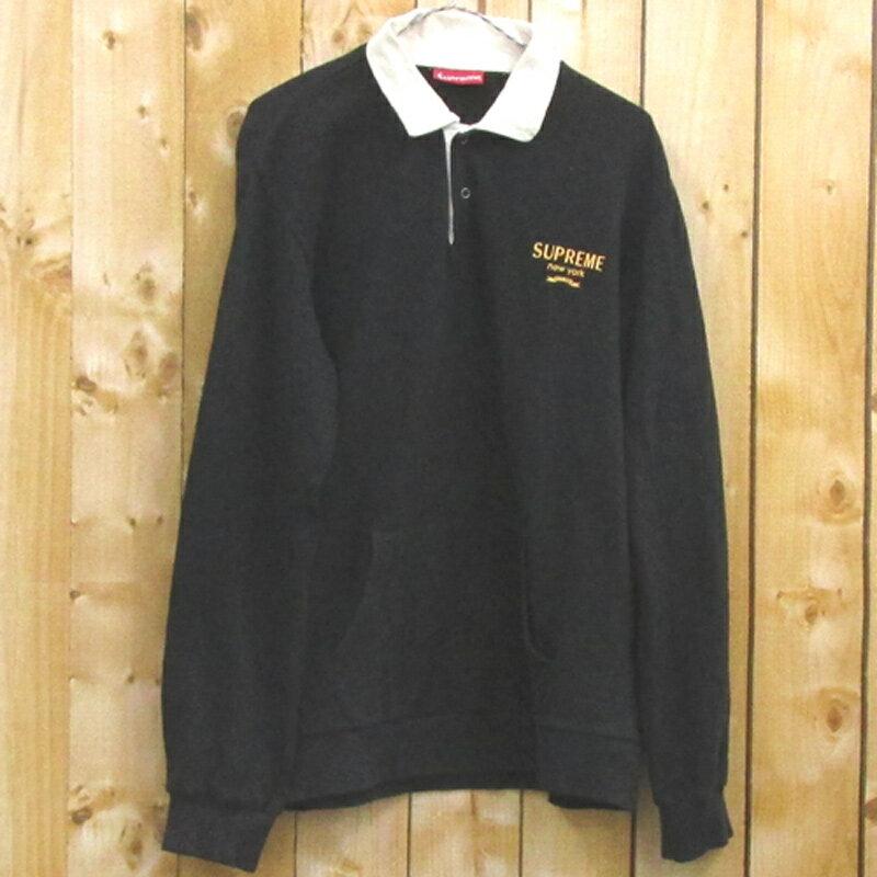 【中古】【メンズ古着】Supreme シュプリーム Rugby SweatShirt ラグビースウェットシャツ/サイズ:L/カラー:ブルー/ストリート 【山城店】
