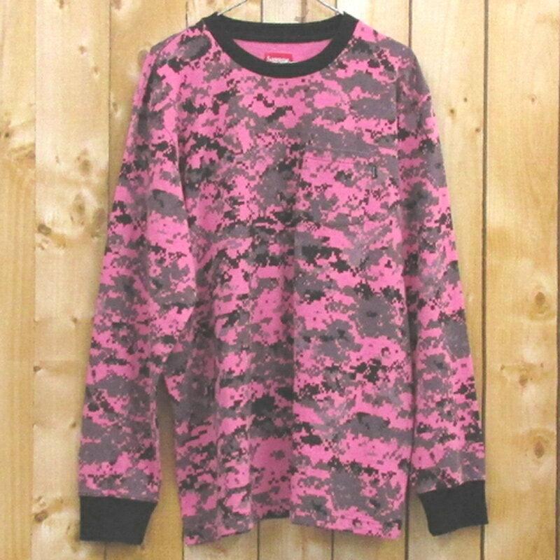 【中古】【メンズ古着】Supreme シュプリーム L/S Pocket Tee Pink digi camo/サイズ:XL/カラー:ピンク/ポケットTシャツ/長袖/17AW/ストリート【山城店】