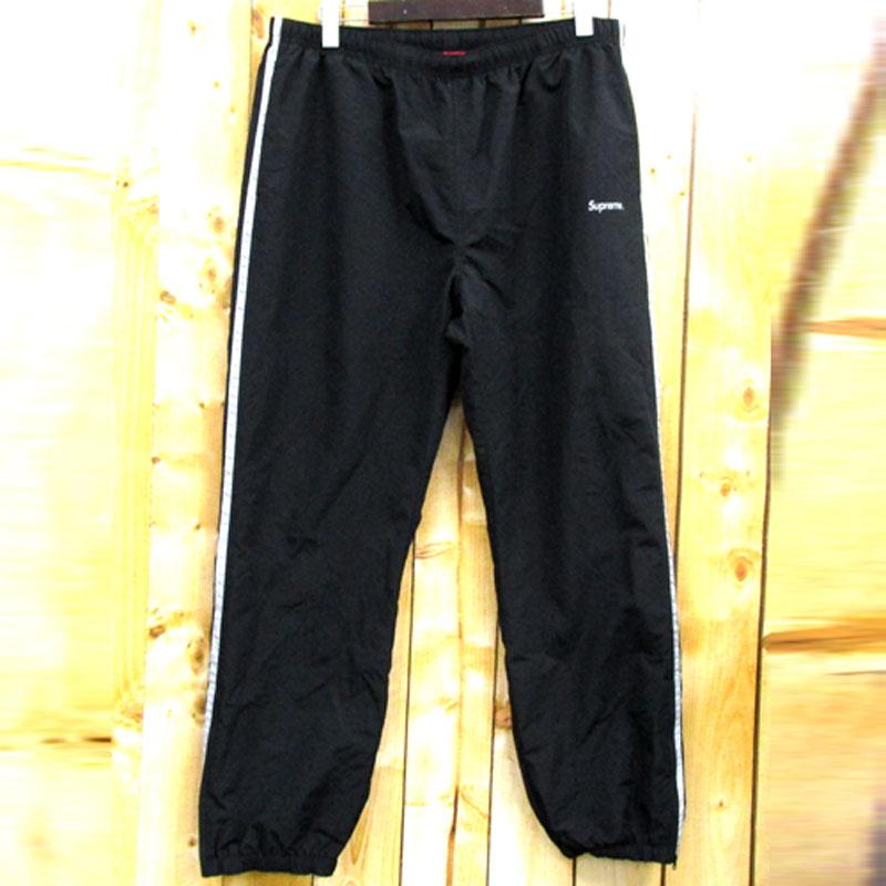 【中古】【メンズ古着】Supreme シュプリーム 3M Reflective Stripe Track Pant ナイロン パンツ サイズ:XL/カラー:黒×銀/16AW/ストリート【山城店】