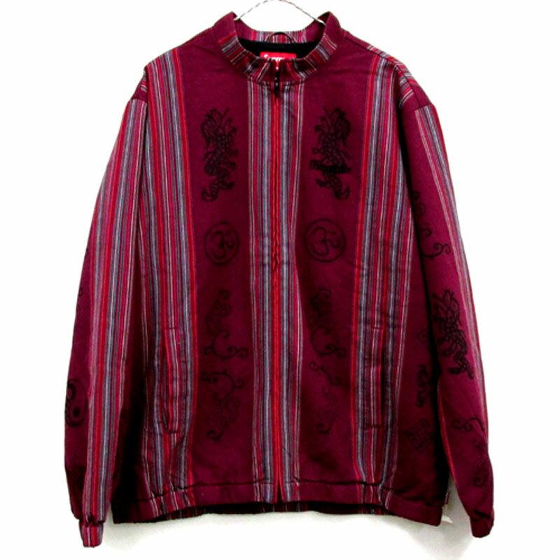 【中古】【メンズ古着】Supreme シュプリーム Woven Striped Batik Jacket ジャケット サイズ:XL/カラー:RED 系/18SS/ストリート【山城店】