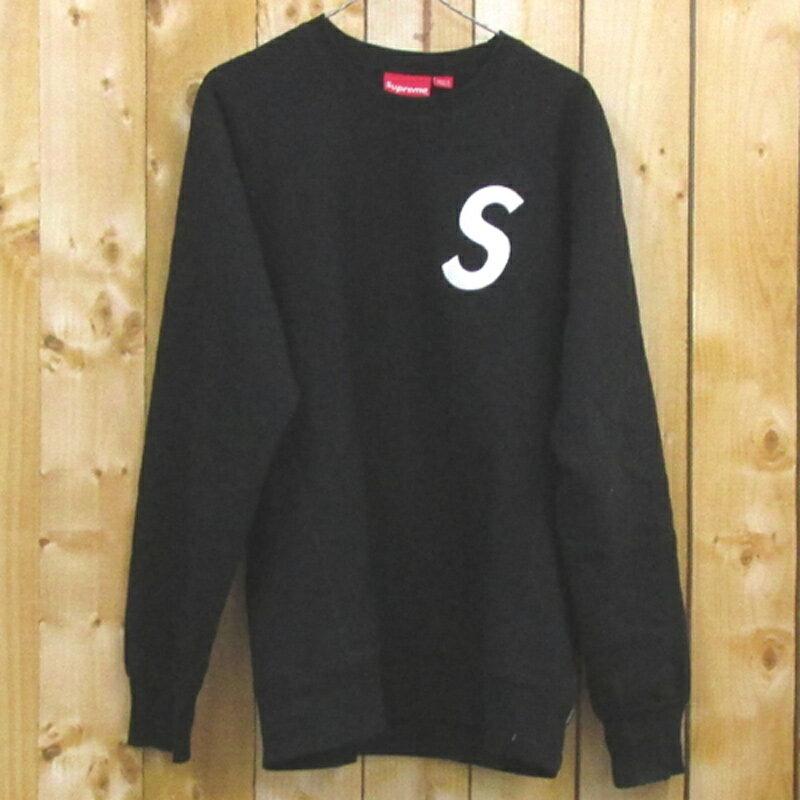 【中古】【メンズ古着】Supreme シュプリーム S Logo CrewNeck ロゴクルーネック/サイズ:L/カラー:ブラック/16AW/トレーナー/ストリート【山城店】