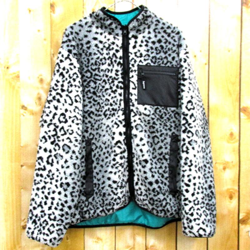 【中古】【メンズ古着】Supreme シュプリーム Leopard Fleece Reversible Jacket/サイズ:XL/カラー:ブラック×ホワイト/17AW/ストリート【山城店】