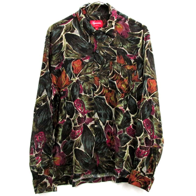 【中古】【メンズ古着】Supreme シュプリーム Painted Floral Rayon Shirt レーヨン シャツ サイズ:S/カラー:マルチ/17AW/ストリート【山城店】