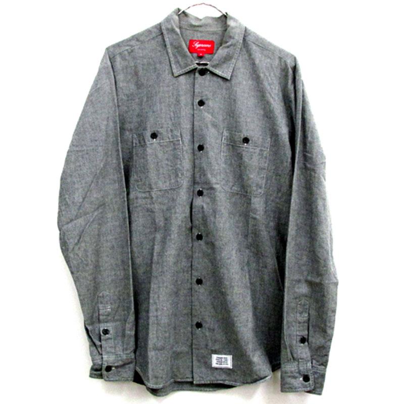【中古】【メンズ古着】Supreme Work Shirt シュプリーム ワーク シャツ サイズ:M/カラー:グレー/12SS/ストリート【山城店】