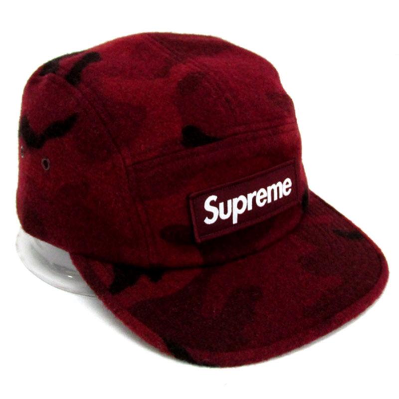 【中古】【メンズ古着】Supreme シュプリーム Camo Wool Camp Cap キャップ サイズ:F/カラー:RED 系/17AW/帽子【山城店】