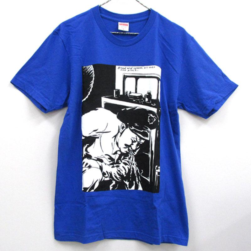 【中古】【メンズ古着】Supreme シュプリーム Pettibon Blood&Sperm Tee 半袖 Tシャツ サイズ:M/カラー:ブルー 系/14AW/ストリート【山城店】