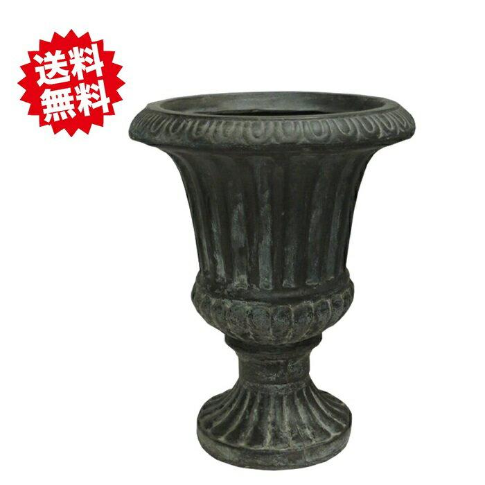 送料無料 スタンドカップ グレー 40cm [軽い鉢]ファイバークレイ アンティークテラコッタ風 軽量 シンプルモダン 植木鉢