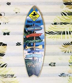 ○o。ハワイアン*SURF-N-SEA(サーフアンドシー) ミニサーフボードウッドプラーク(W13xH41cm) ハワイアン雑貨*ハワイアンインテリア サーフィン ノースショア サーフボード 西海岸風インテリア。o○