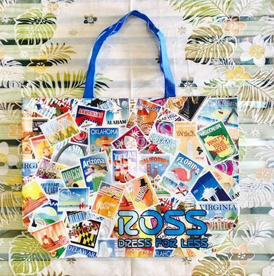 ○o。ハワイ直輸入!!ハワイ ロスドレス限定 アメリカ柄 BIGトートバッグ(約43×56cm) エコバッグ ショッピングバッグ コスコ ハワイアン雑貨 ハワイ雑貨 ハワイアンインテリア ROSS DRESS FOR LESS。o○