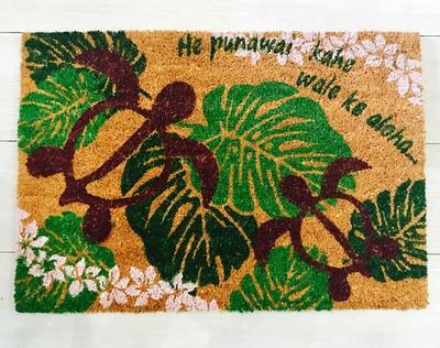 ○o。ハワイアン玄関マット インテリアコイヤーマット 雑貨 【HONU】ホヌ 海亀 ハワイ インテリア ハワイアン レインボー ココナッツマット 西海岸 カルフォルニア 。o○