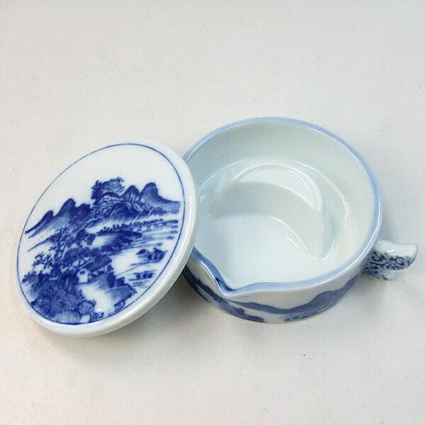 墨地 山水 中 直径123mm 陶器 「書道用品」