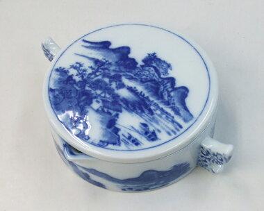 墨地山水中直径123mm陶器「書道用品」