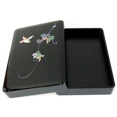 漆塗り硯箱螺鈿ぶどうに鳥5.5寸(横幅16.5cm)高岡漆器『書道用品蒔絵整理箱』