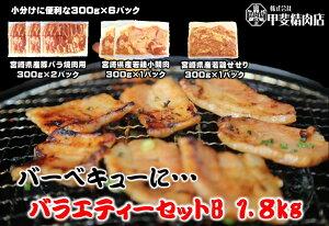4102【送料無料】BBQバラエティーセットB 1.8kg(8〜10人前) 豚バラ 鶏もも せせり 小肉 豚 鶏 九州産 宮崎県産 焼肉 BBQ バーベキュー お歳暮 お中元