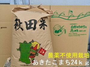 【新米】【送料無料】【農薬不使用栽培(無農薬)玄米】【無洗米対応】【令和3年産】【秋田県産】安心で美味しいあきたこまち24kg×1袋